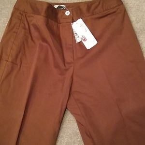 Chico's sateen Brown pants, 5 tall, nwt